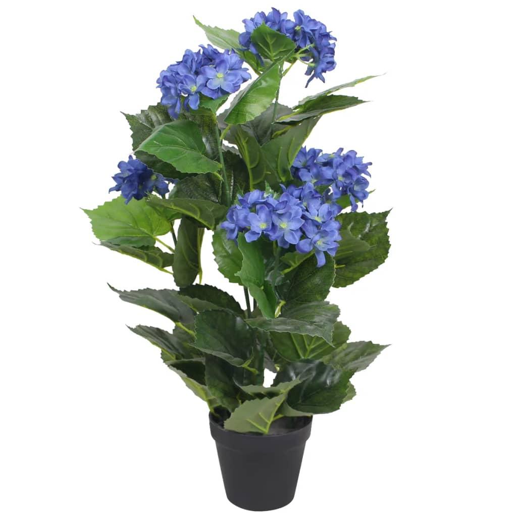 vidaXL műhortenzia virágcseréppel 60 cm kék