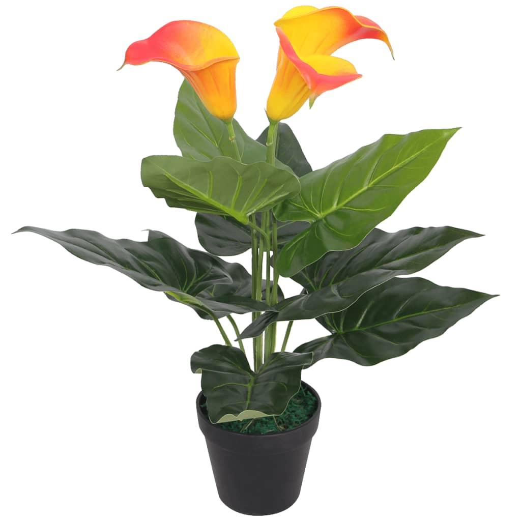 vidaXL műkála liliom virágcseréppel 40 cm piros és sárga