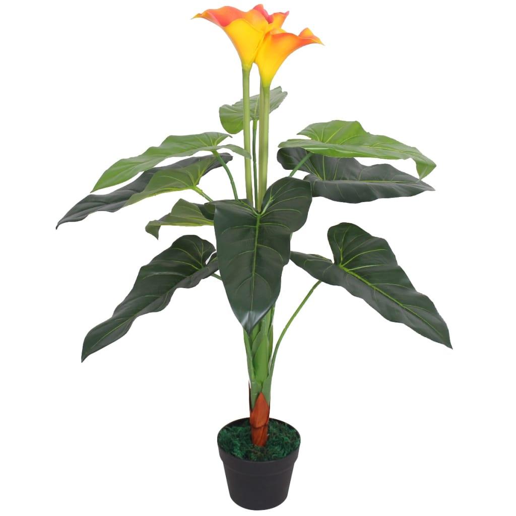 vidaXL műkála liliom virágcseréppel 85 cm piros és sárga