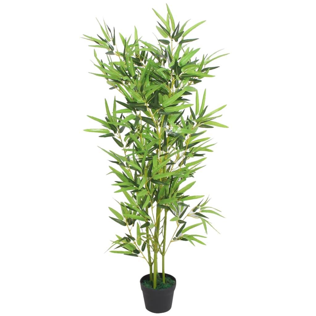 vidaXL műbambusz virágcseréppel 120 cm zöld