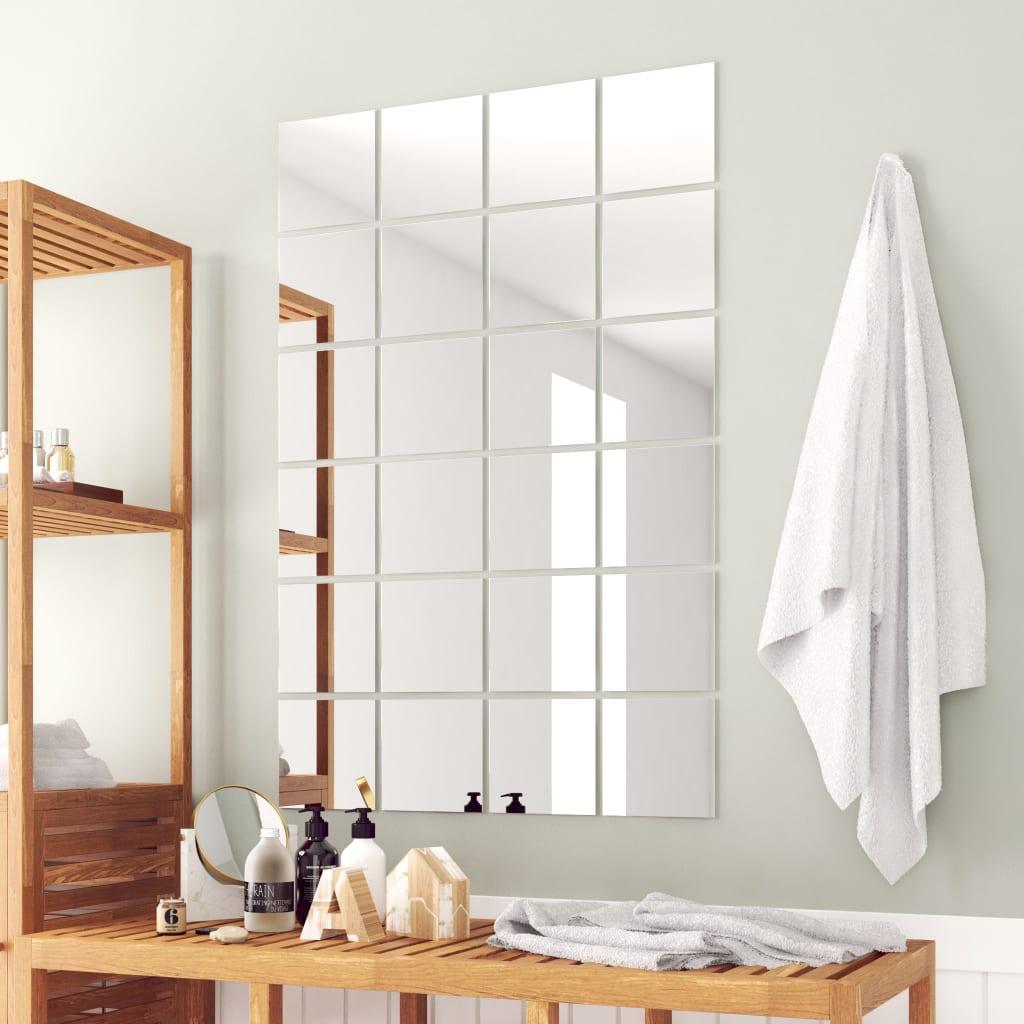 vidaXL 24 darabos, négyzetes tükörcsempe készlet