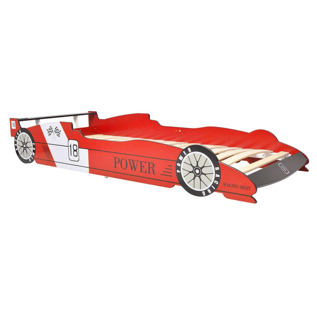 vidaXL Łóżko dziecięce w kształcie samochodu, 90x200 cm, czerwone
