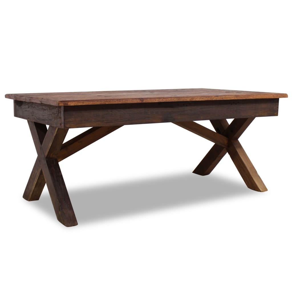 vidaXL Stolik kawowy z litego drewna z odzysku, 110 x 60 x4 5 cm
