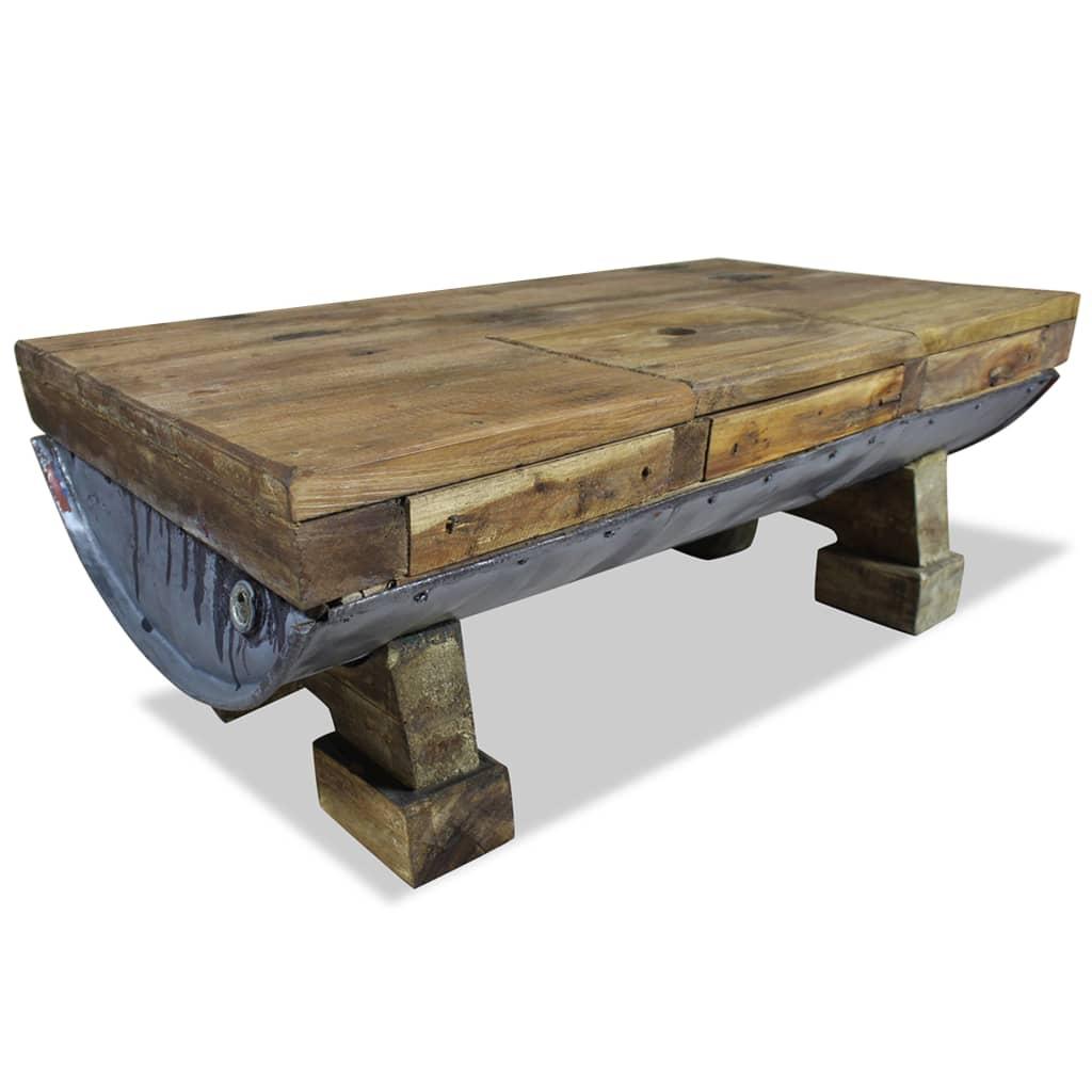 vidaXL tömör újrahasznosított fa dohányzóasztal 90 x 50 35 cm