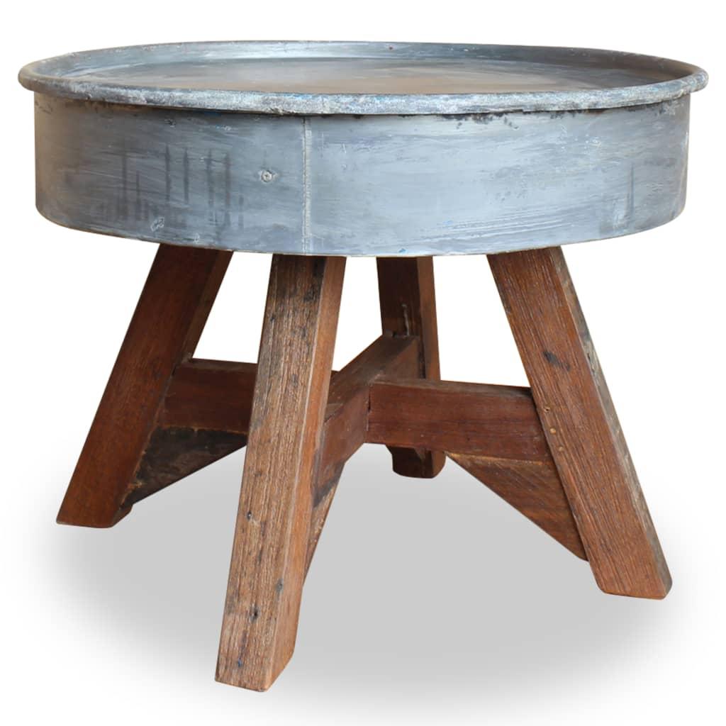 vidaXL Stolik kawowy, lite drewno z odzysku, 60 x 45 cm, srebrny