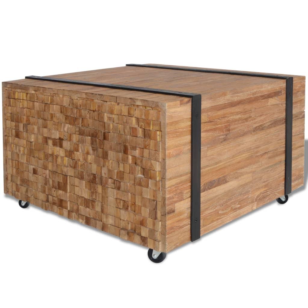 vidaXL tömör tíkfa kisasztal 60 x 38 cm