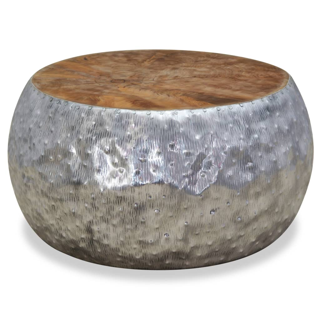 vidaXL Stolik kawowy, aluminium, drewno tekowe, 60 x 30 cm