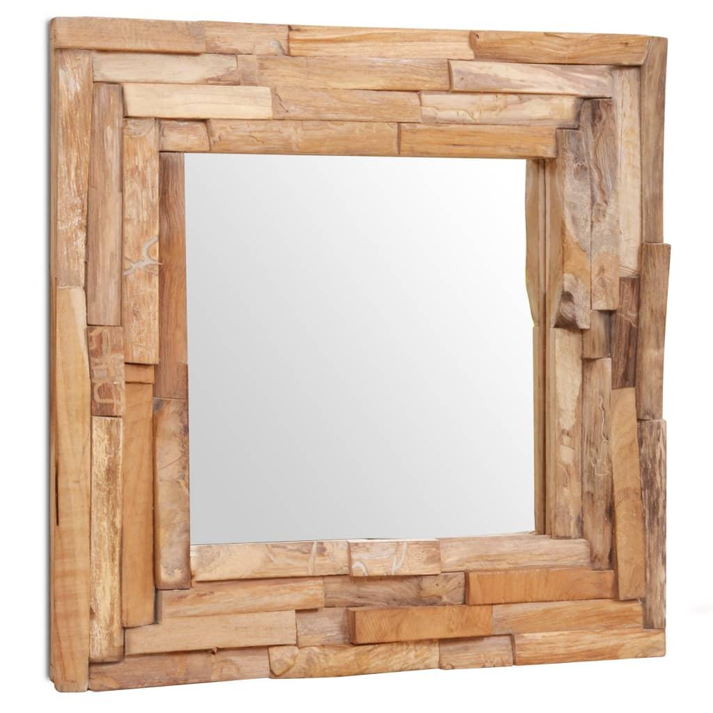 vidaXL dekoratív és kocka-alakú tükör tíkfából 60 x cm