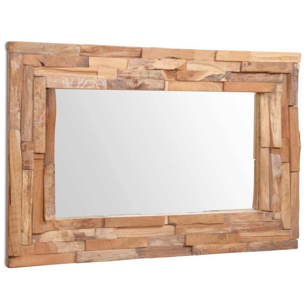 vidaXL dekoratív és téglalap-alakú tükör tíkfából 90 x 60 cm
