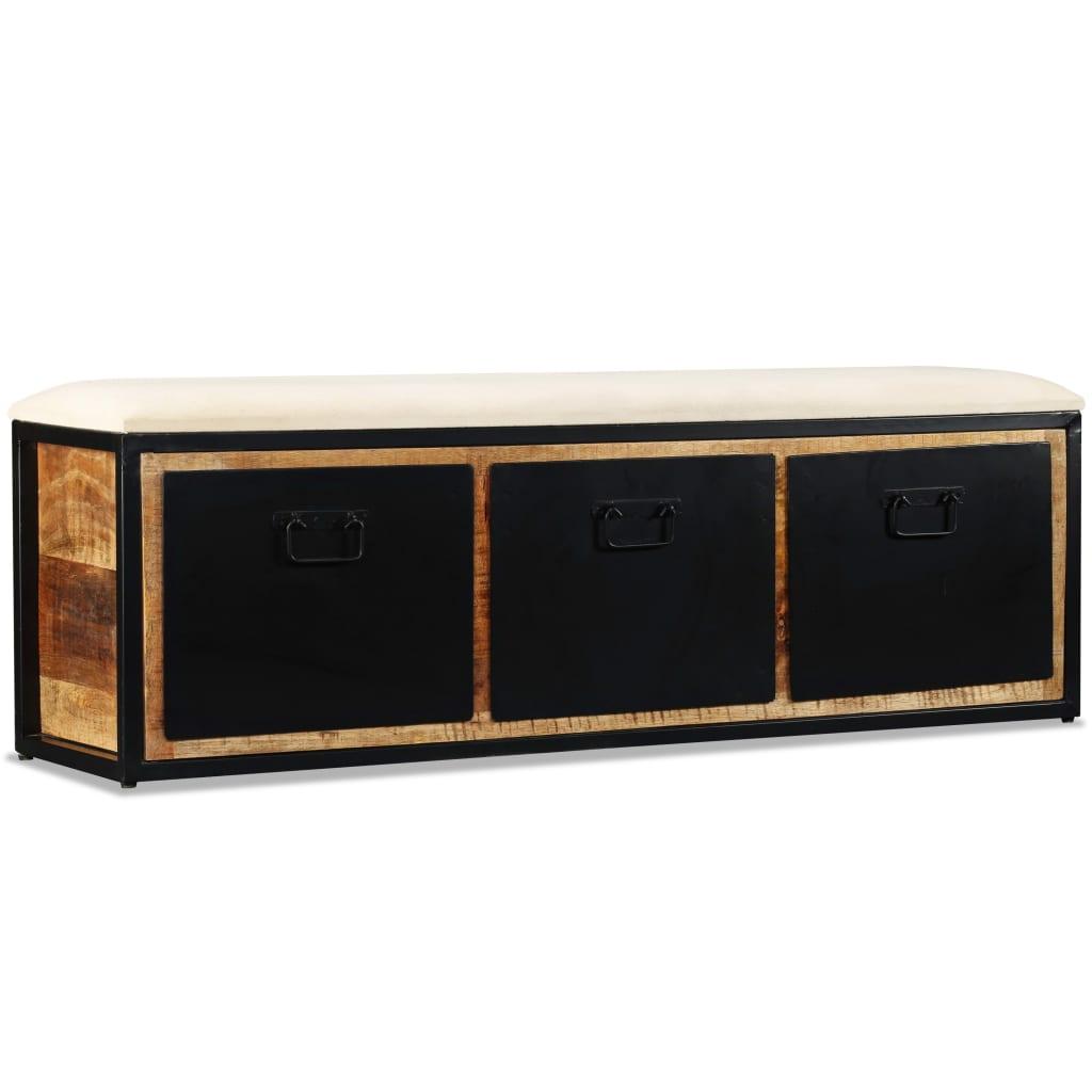 vidaXL tömör mangófa tárolópad 3 fiókkal 120 x 30 40 cm