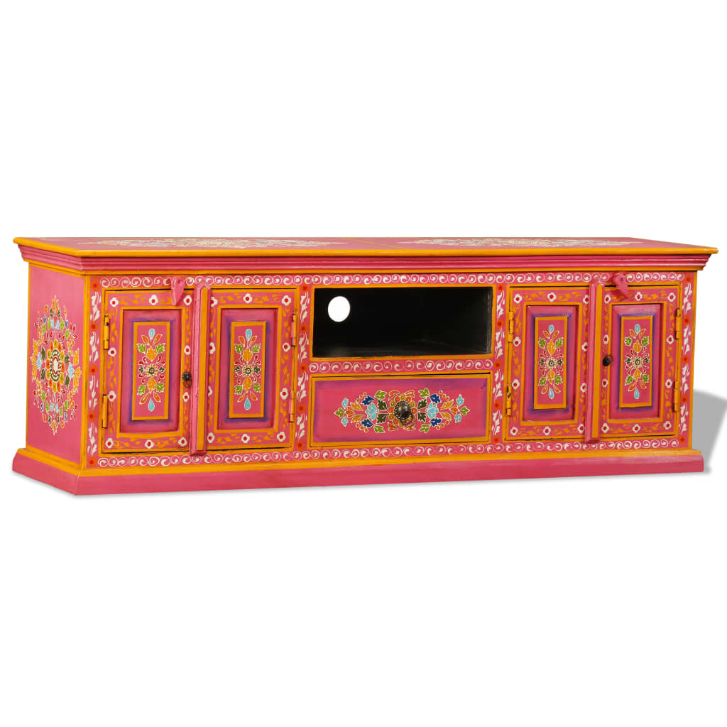 vidaXL Szafka pod telewizor, drewno mango, różowa, ręcznie malowana