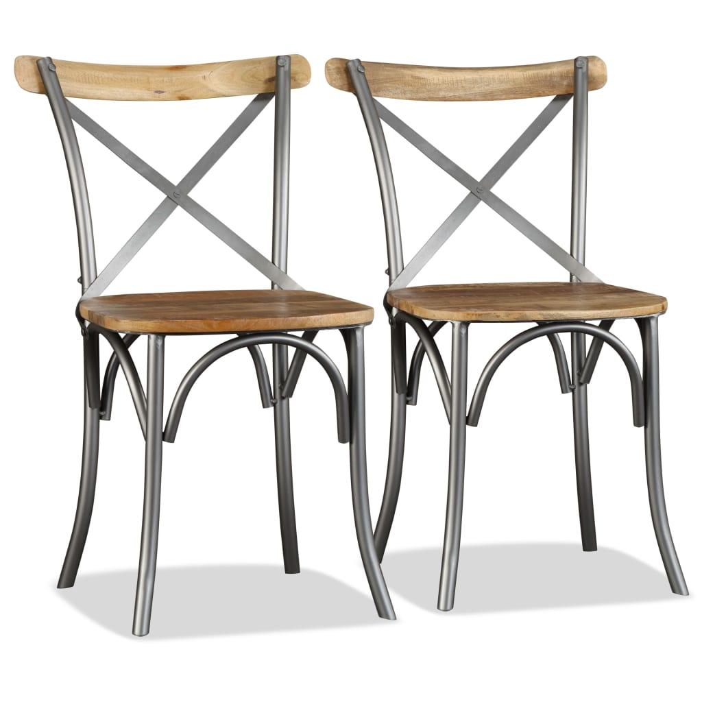 vidaXL Krzesła do jadalni, 2 szt., lite drewno mango i stalowa rama