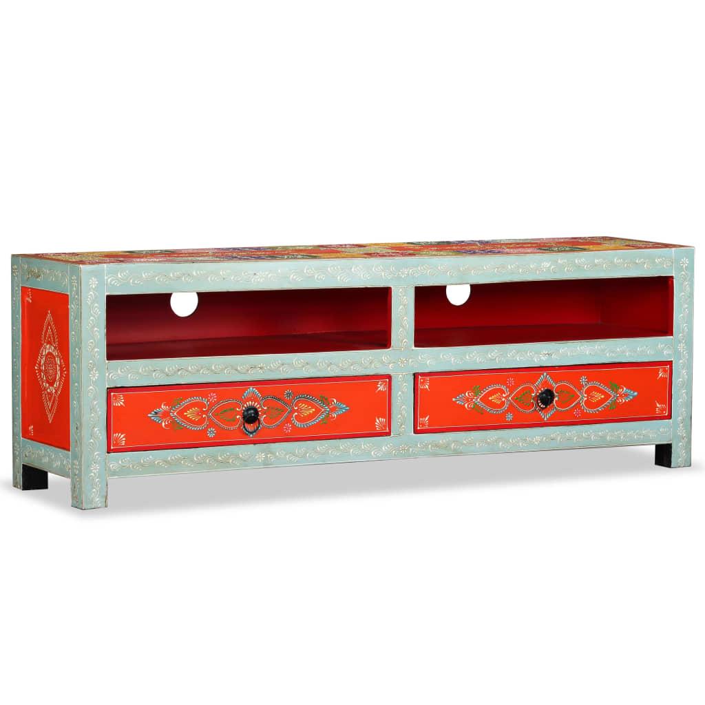 vidaXL kézzel festett, tömör mangófa TV-szekrény