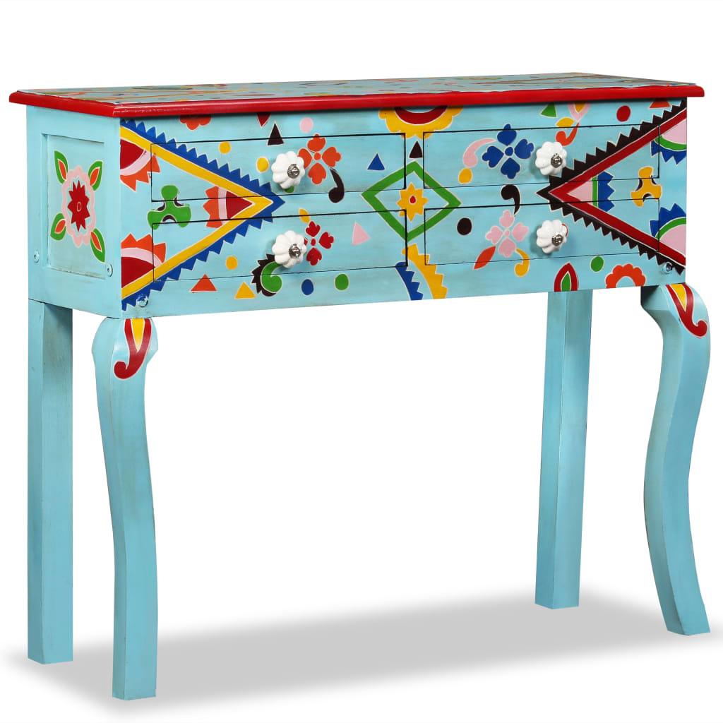 vidaXL Stolik konsola, drewno mango, niebieski, ręcznie malowany