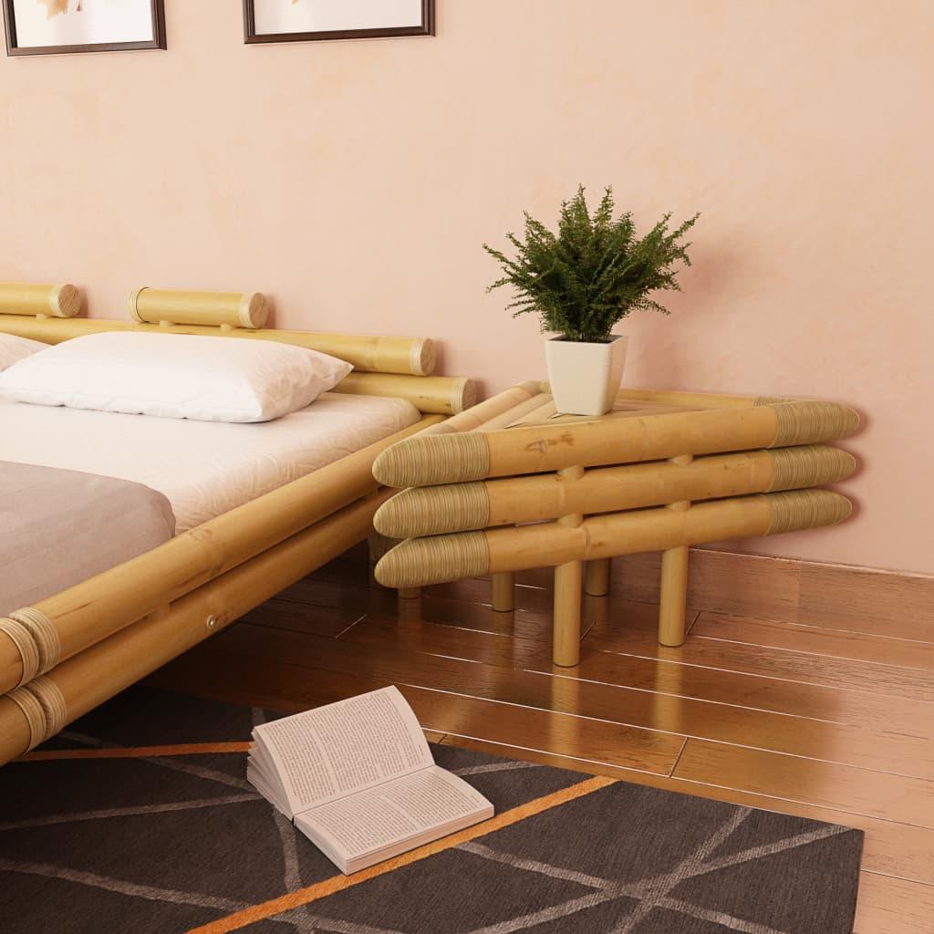 vidaXL 2 db természetes bambusz éjjeliszekrény 60 x 40 cm