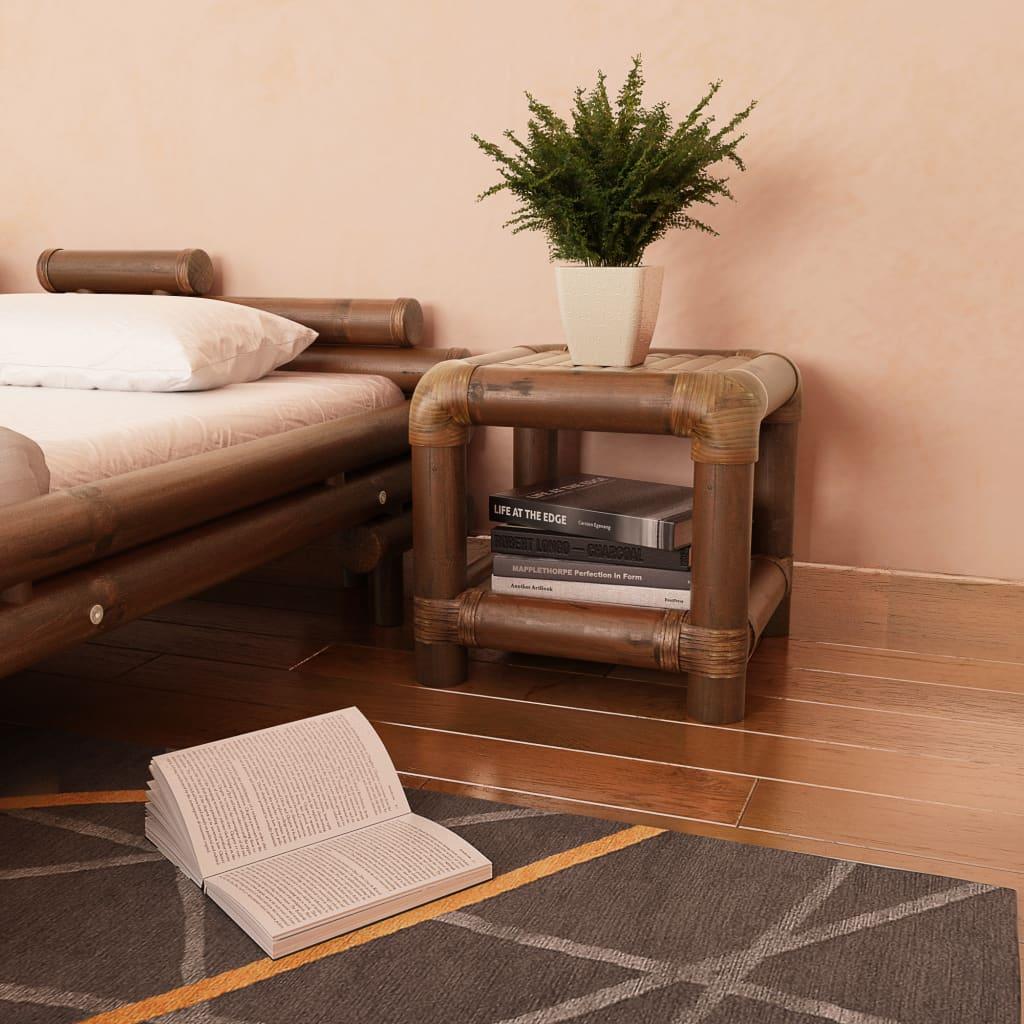vidaXL sötétbarna bambusz éjjeliszekrény 40 x cm