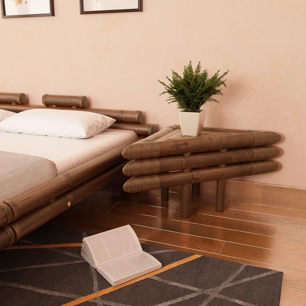 vidaXL 2 db sötétbarna bambusz éjjeliszekrény 60 x 40 cm