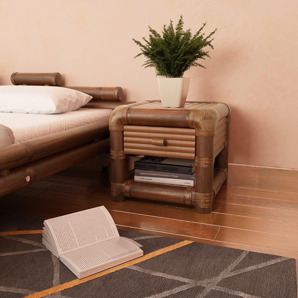 vidaXL sötétbarna bambusz éjjeliszekrény 45 x 40 cm