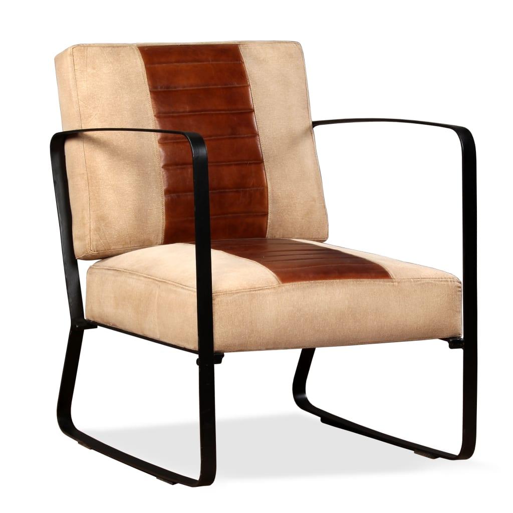 vidaXL Fotel z prawdziwej skóry i płótna, brązowy