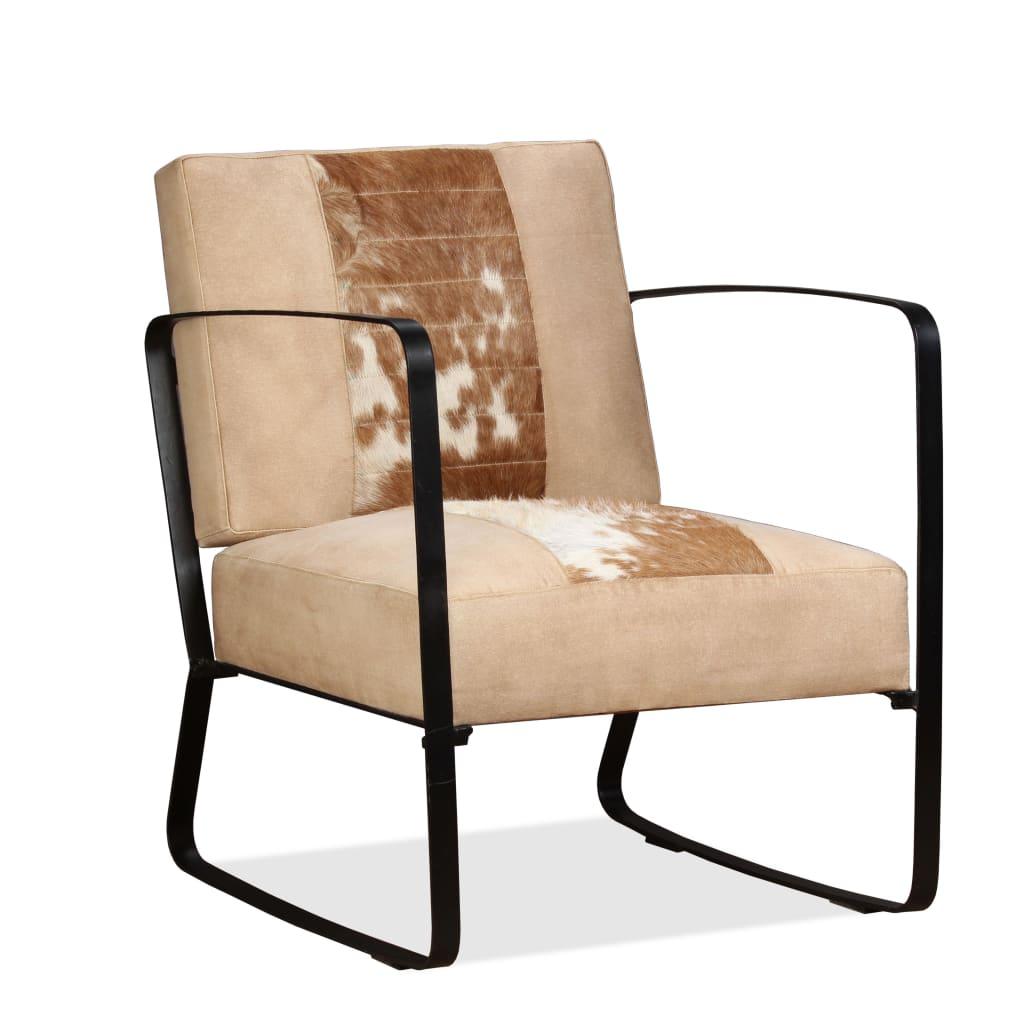 vidaXL Fotel z prawdziwej koziej skóry i płótna, kremowy
