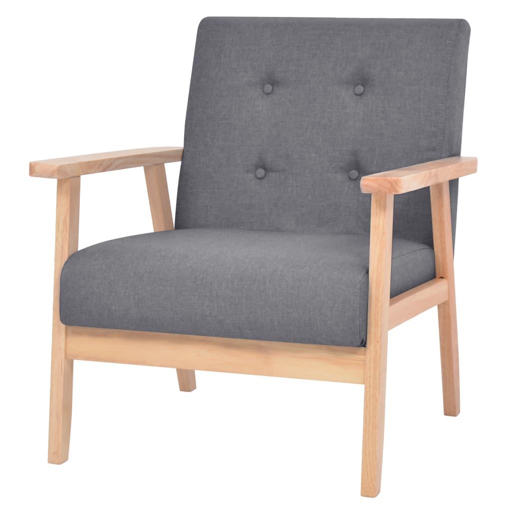 vidaXL Fotel tapicerowany materiałem, ciemnoszary