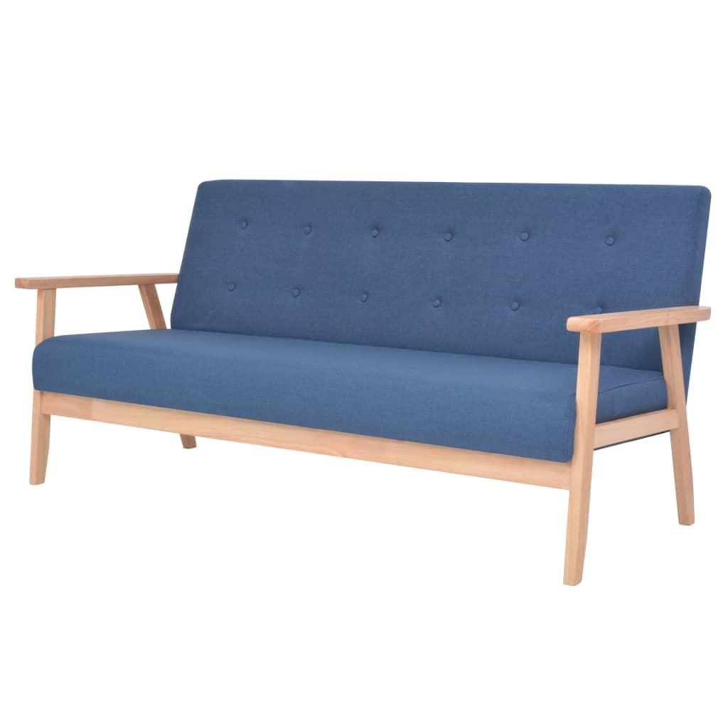 vidaXL 3 személyes kék szövet kanapé