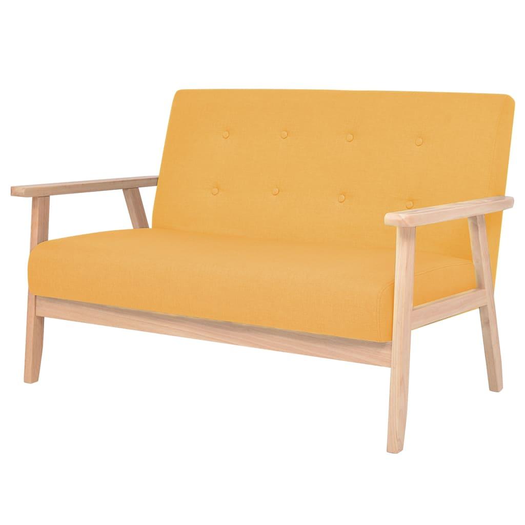 vidaXL 2 személyes sárga szövet kanapé