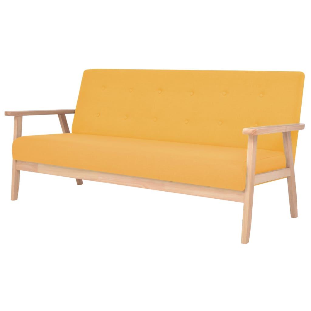 vidaXL 3 személyes sárga szövet kanapé