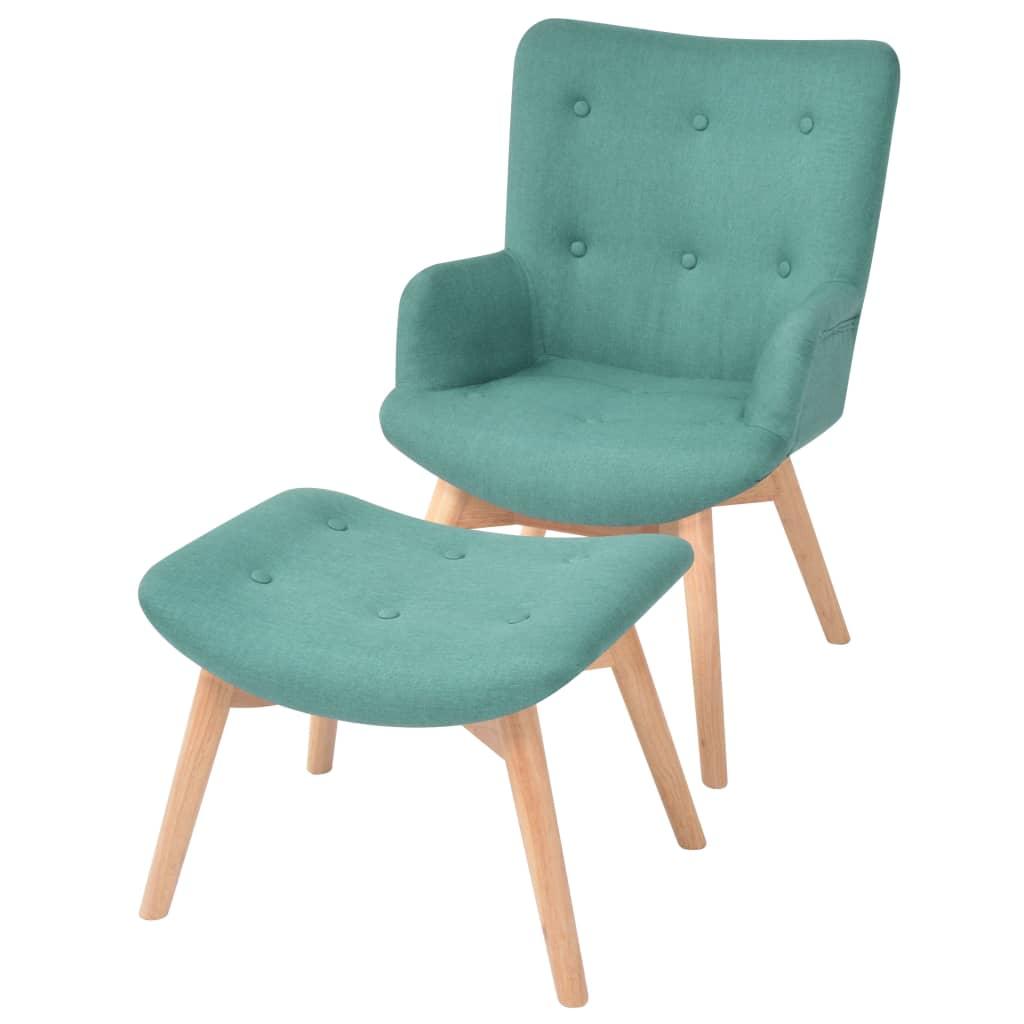 vidaXL zöld szövet fotel lábzsámollyal