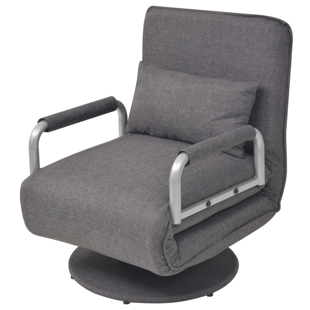 vidaXL Obrotowy fotel rozkładany, ciemnoszary, 60 x 75 80 cm