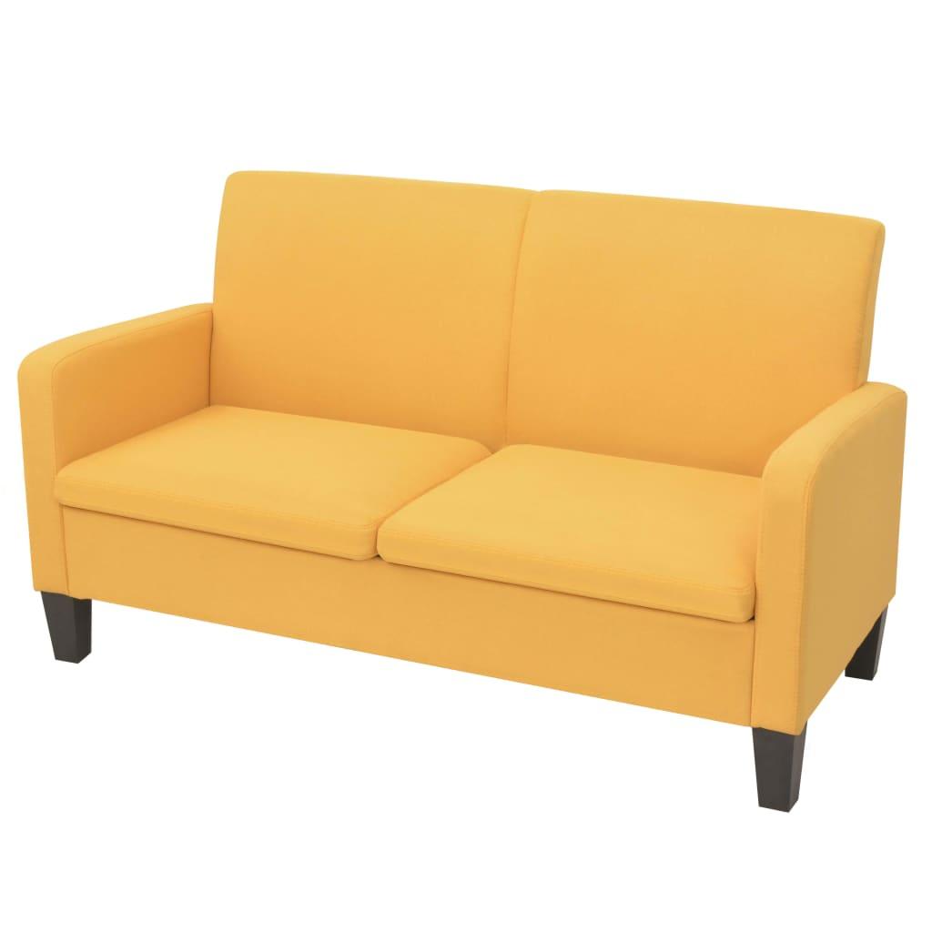 vidaXL Sofa 2-osobowa, żółta, 135 x 65 76 cm