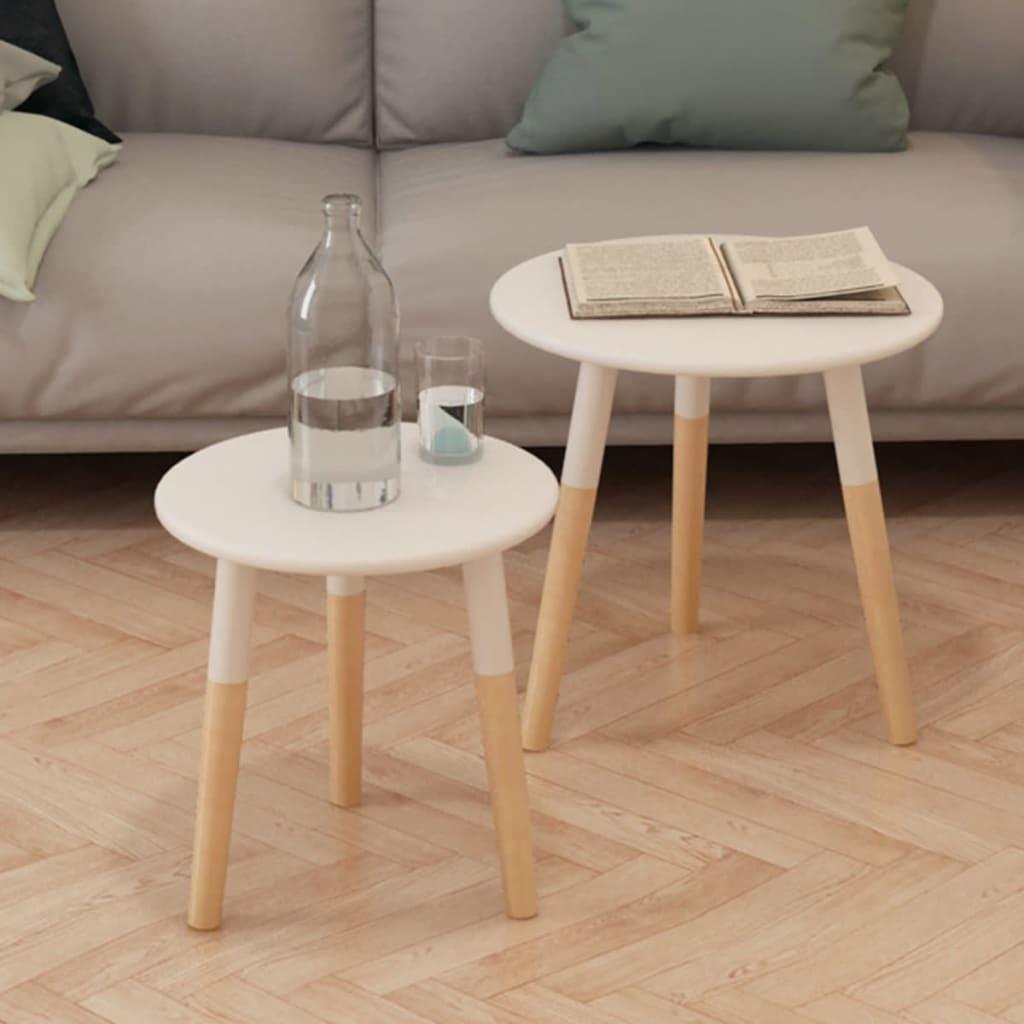 vidaXL 2-részes, fehér tömör fenyőfa kis asztal szett