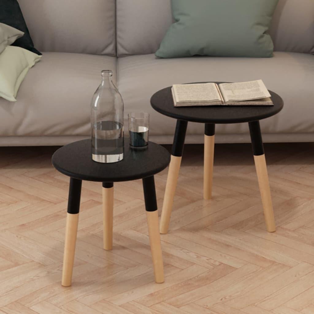 vidaXL 2-részes, fekete tömör fenyőfa kis asztal szett