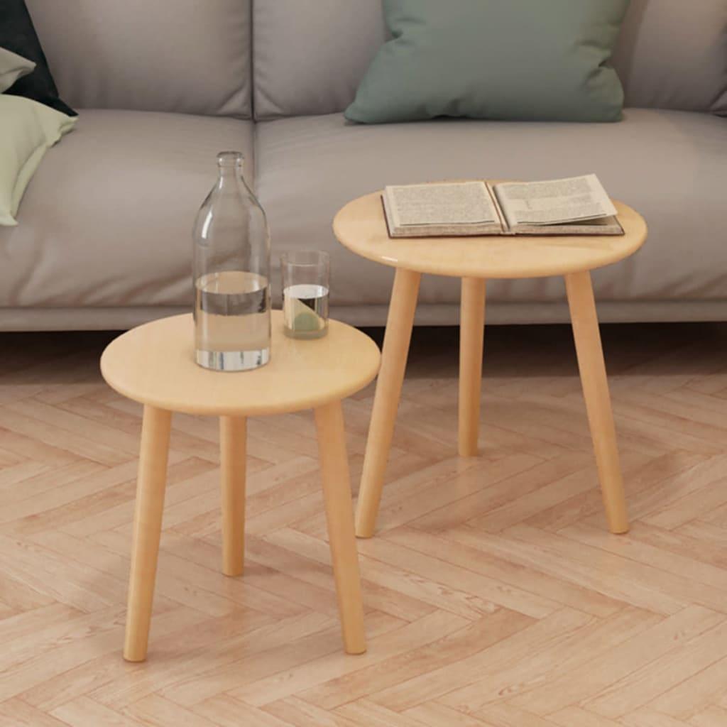 vidaXL 2-részes, barna tömör fenyőfa kis asztal szett