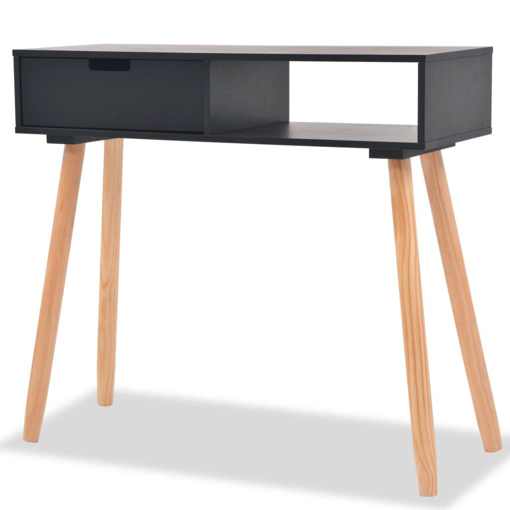 vidaXL fekete, tömör fenyőfa tálalóasztal 80 x 30 72 cm