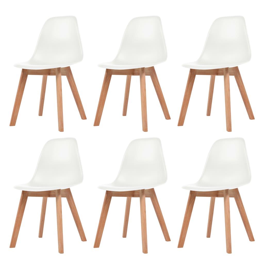 vidaXL Krzesła do jadalni, 6 sztuk, białe