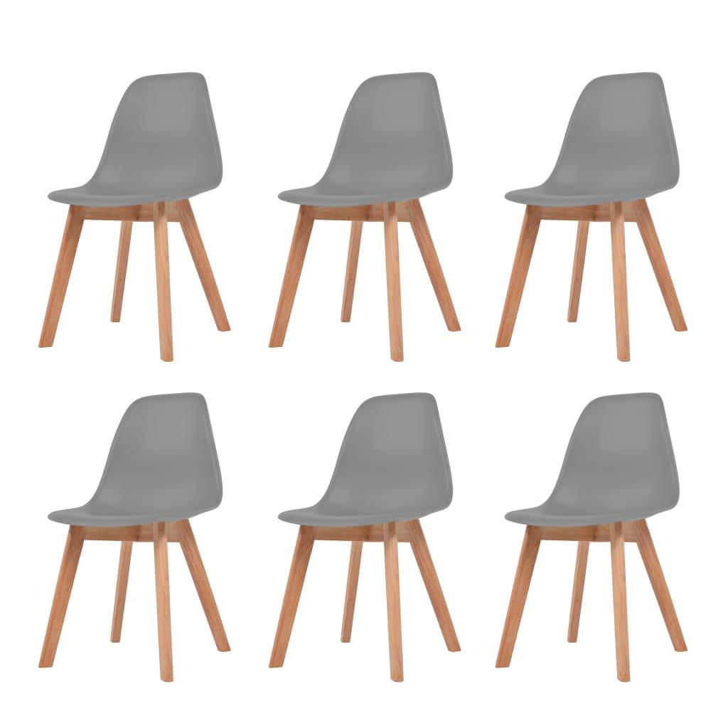 vidaXL Krzesła do jadalni, 6 sztuk, szare