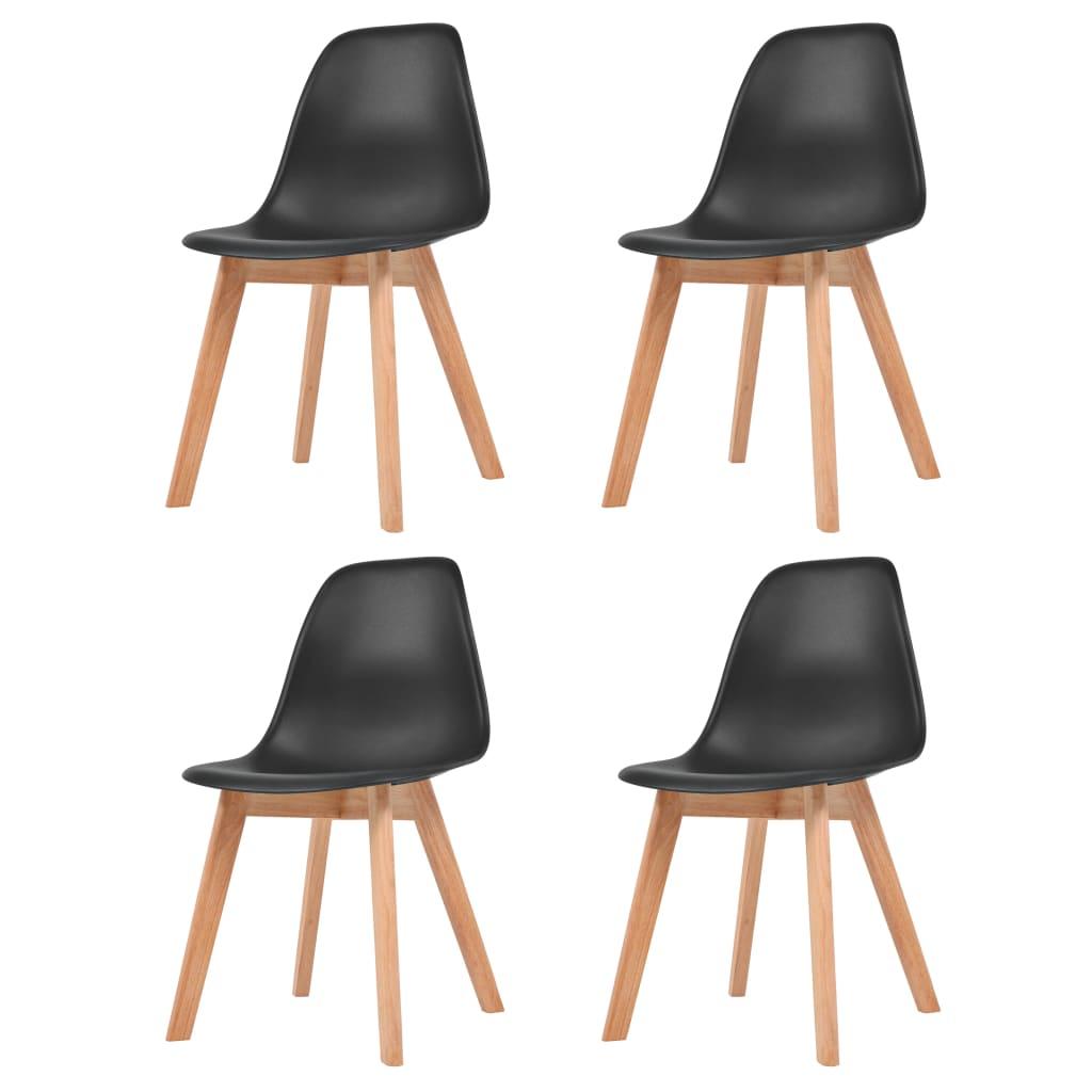 vidaXL Krzesła do jadalni, 4 sztuki, czarne