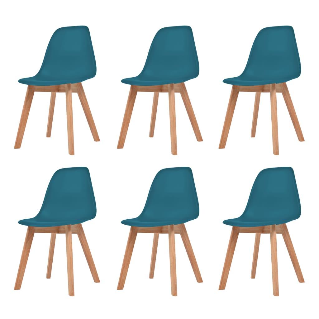 vidaXL Krzesła do jadalni, 6 sztuk, turkusowe