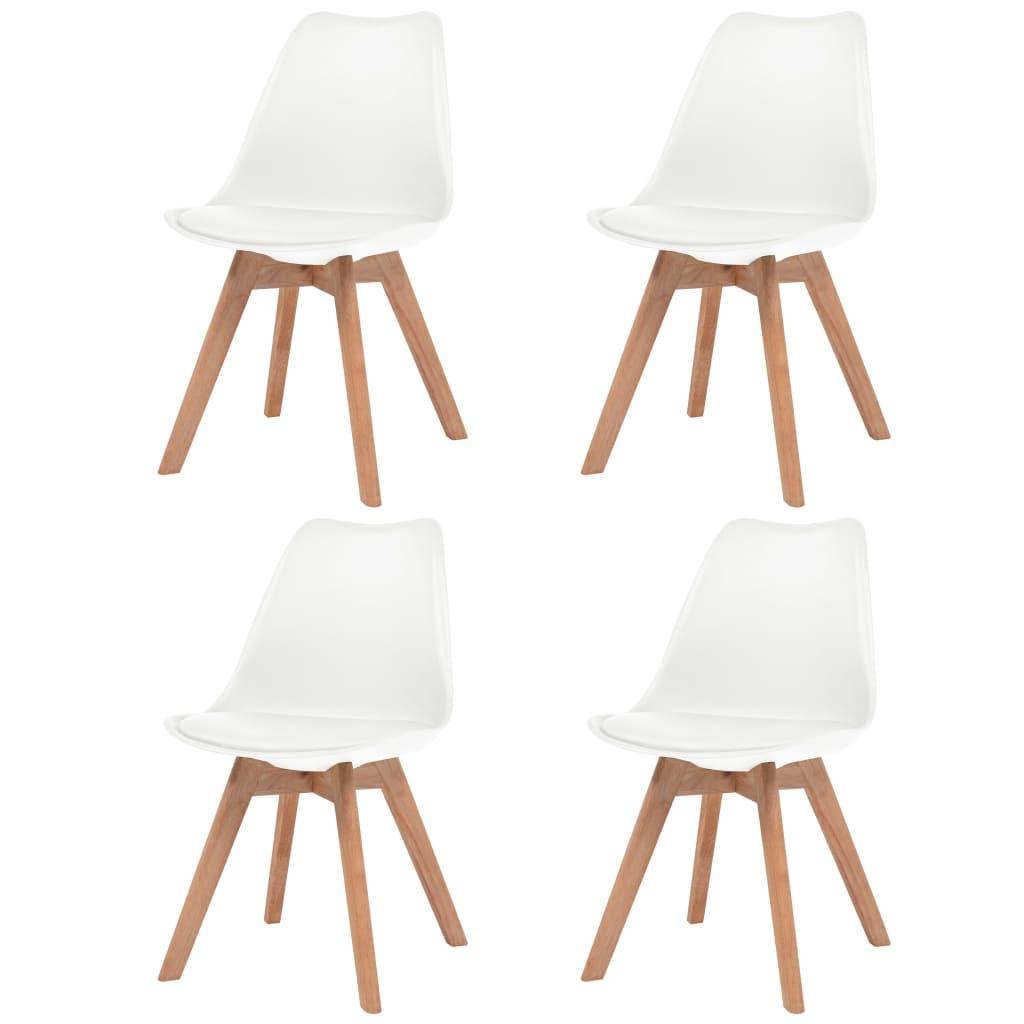 vidaXL Krzesła do jadalni, 4 szt., sztuczna skóra, lite drewno, białe