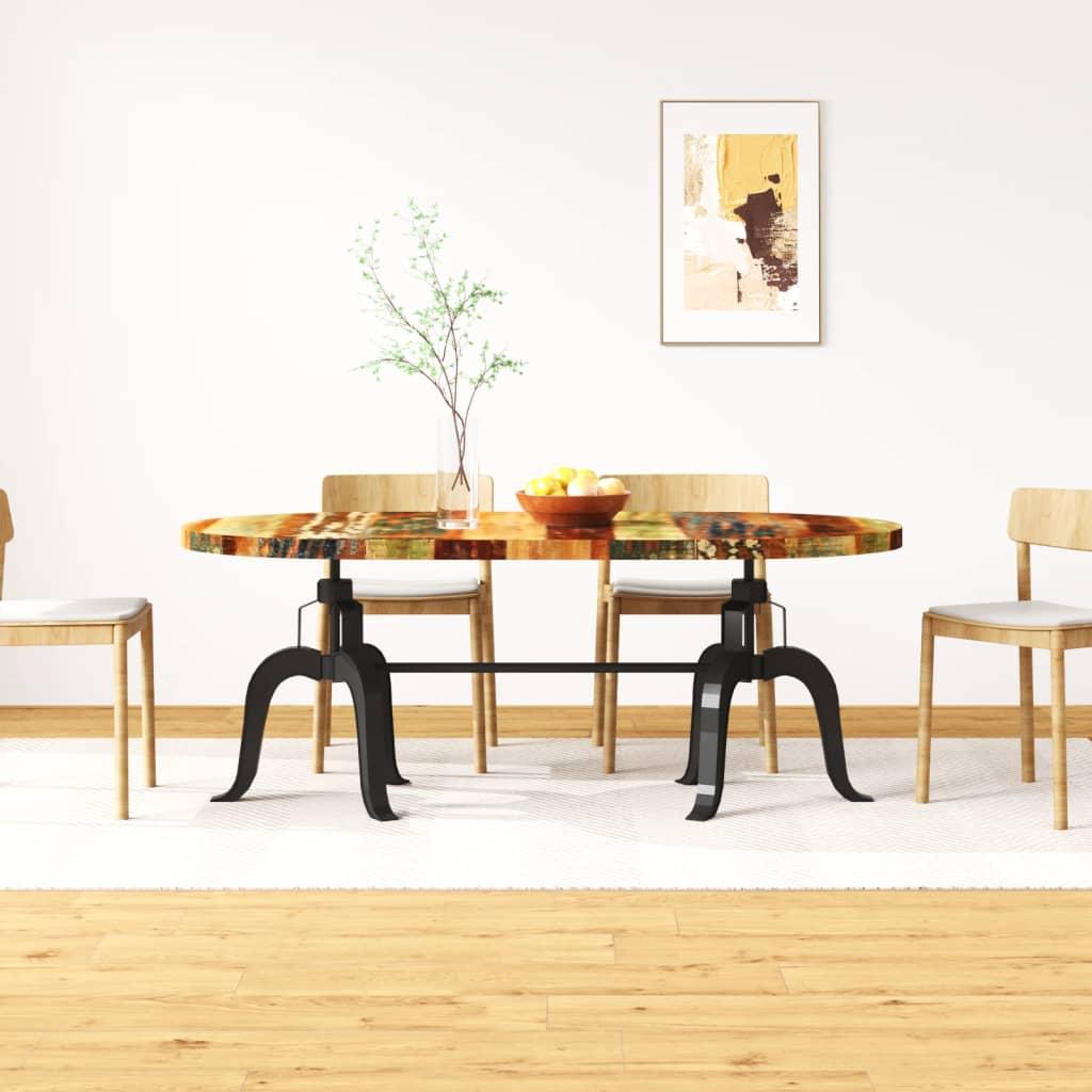 vidaXL tömör újrahasznosított fa/acél étkezőasztal 180 cm