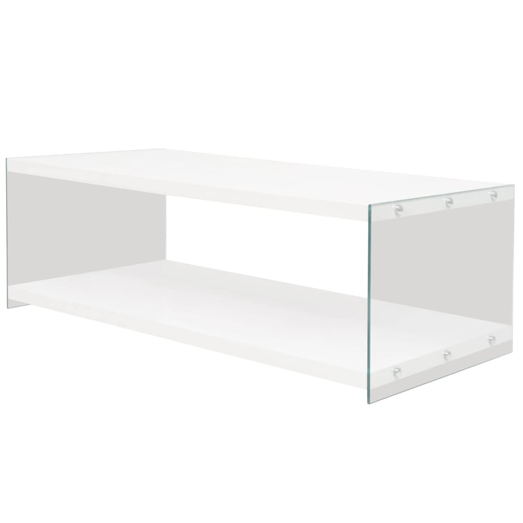 Vidaxl High Gloss Coffee Table White: VidaXL Coffee Table With Shelf Glass MDF Lamp Plant Stand