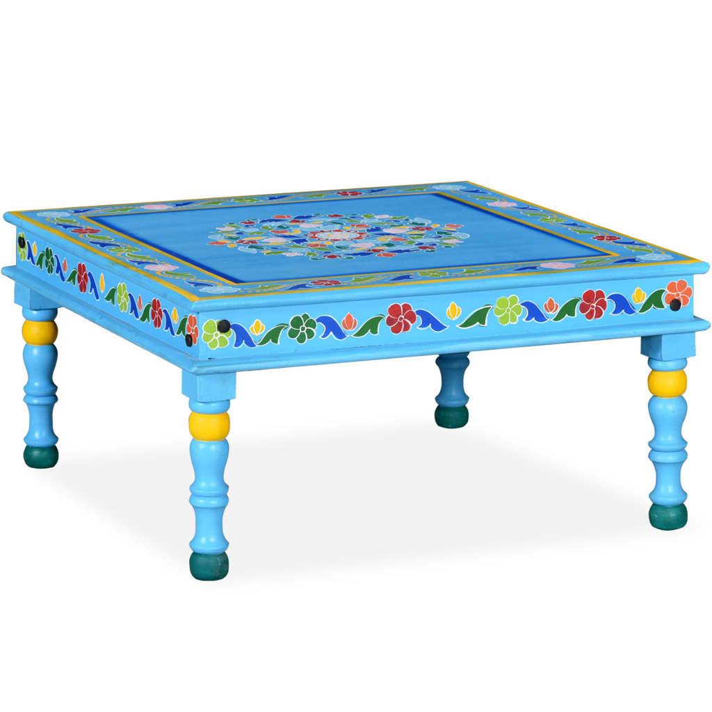 vidaXL türkiz, kézzel festett, tömör mangófa dohányzóasztal