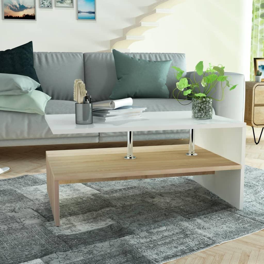 vidaXL tölgyfa/fehér színű faforgácslap dohányzóasztal 90 x 59 42 cm