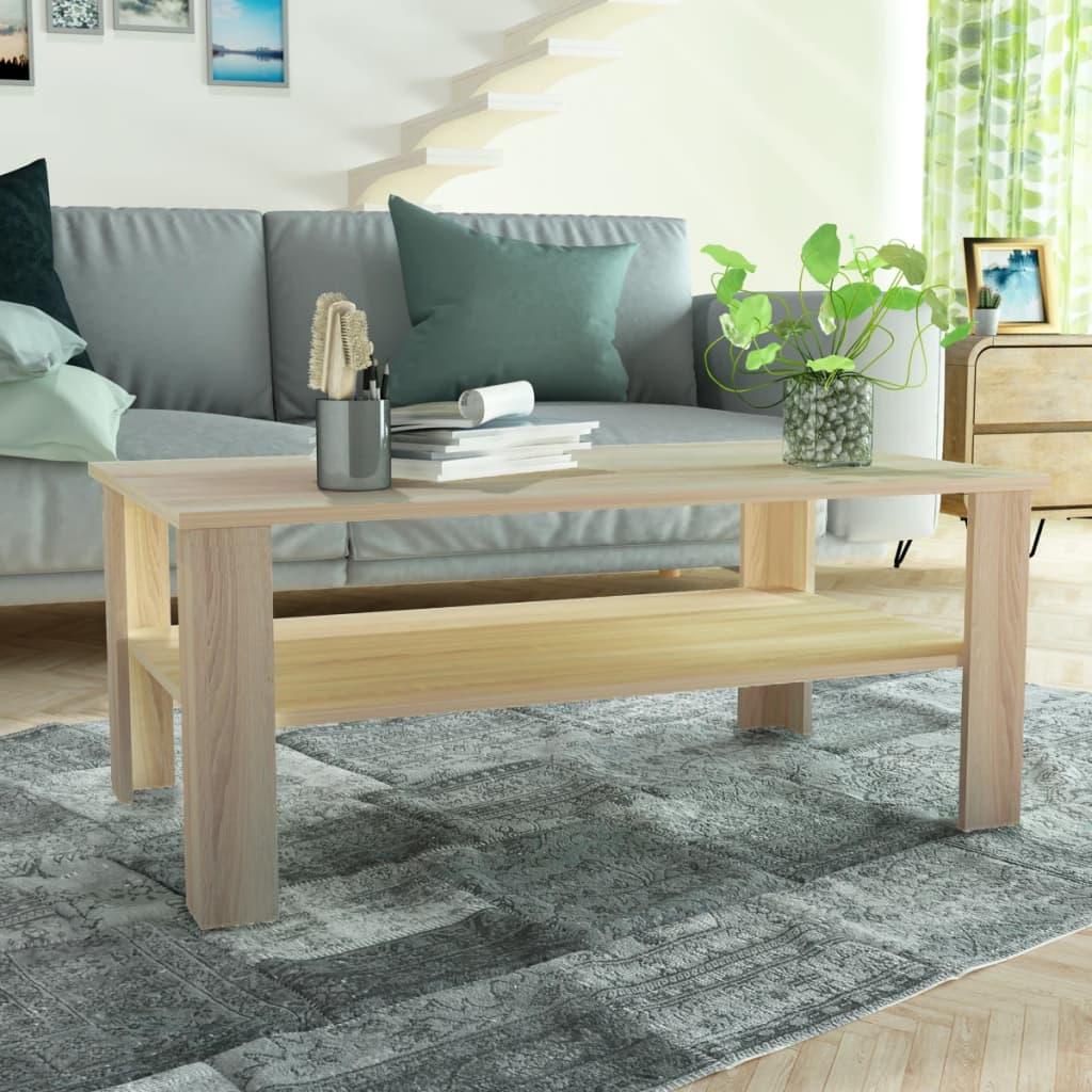 vidaXL tölgyfa színű faforgácslap dohányzóasztal 100 x 59 42 cm