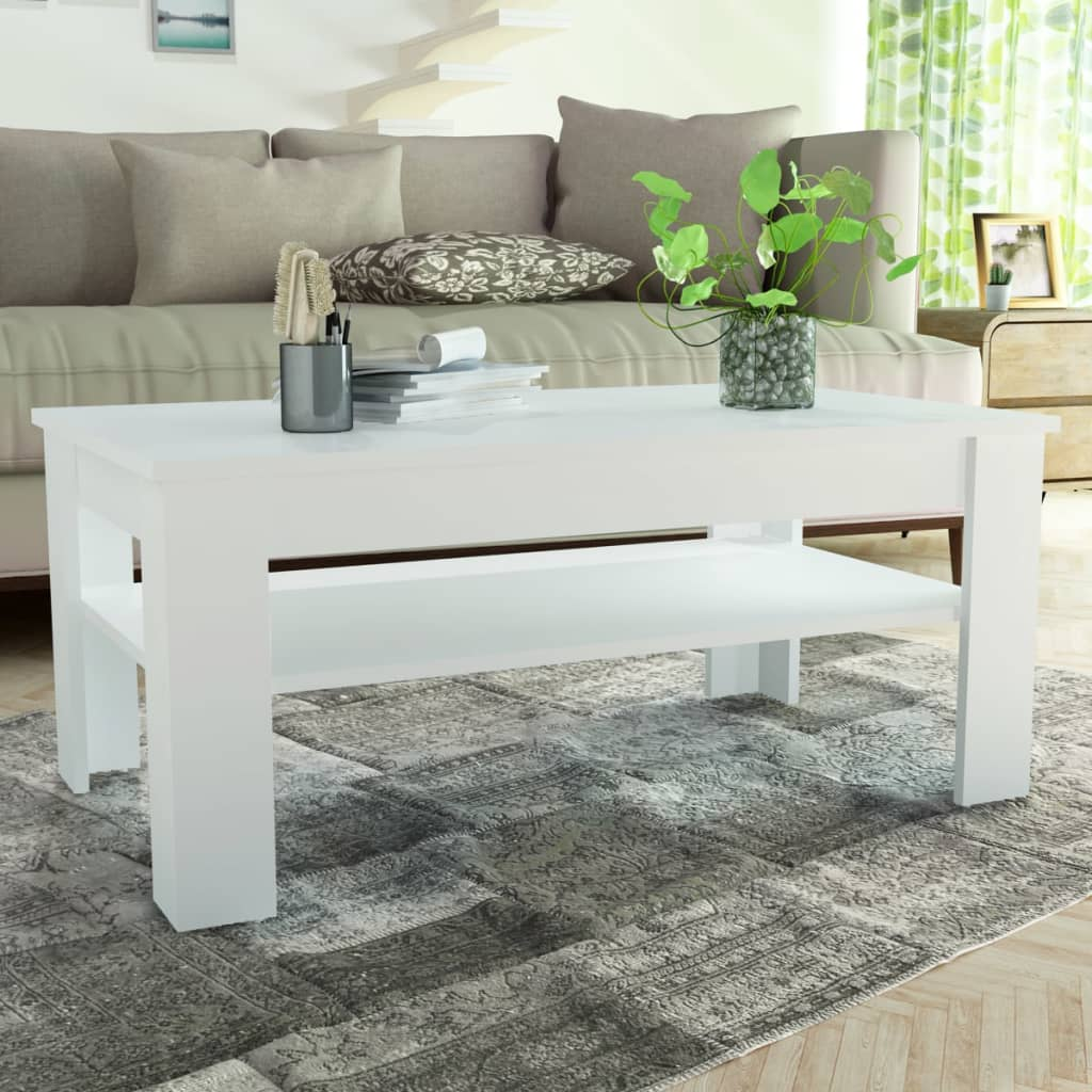 vidaXL fehér faforgácslap dohányzóasztal 110 x 65 48 cm
