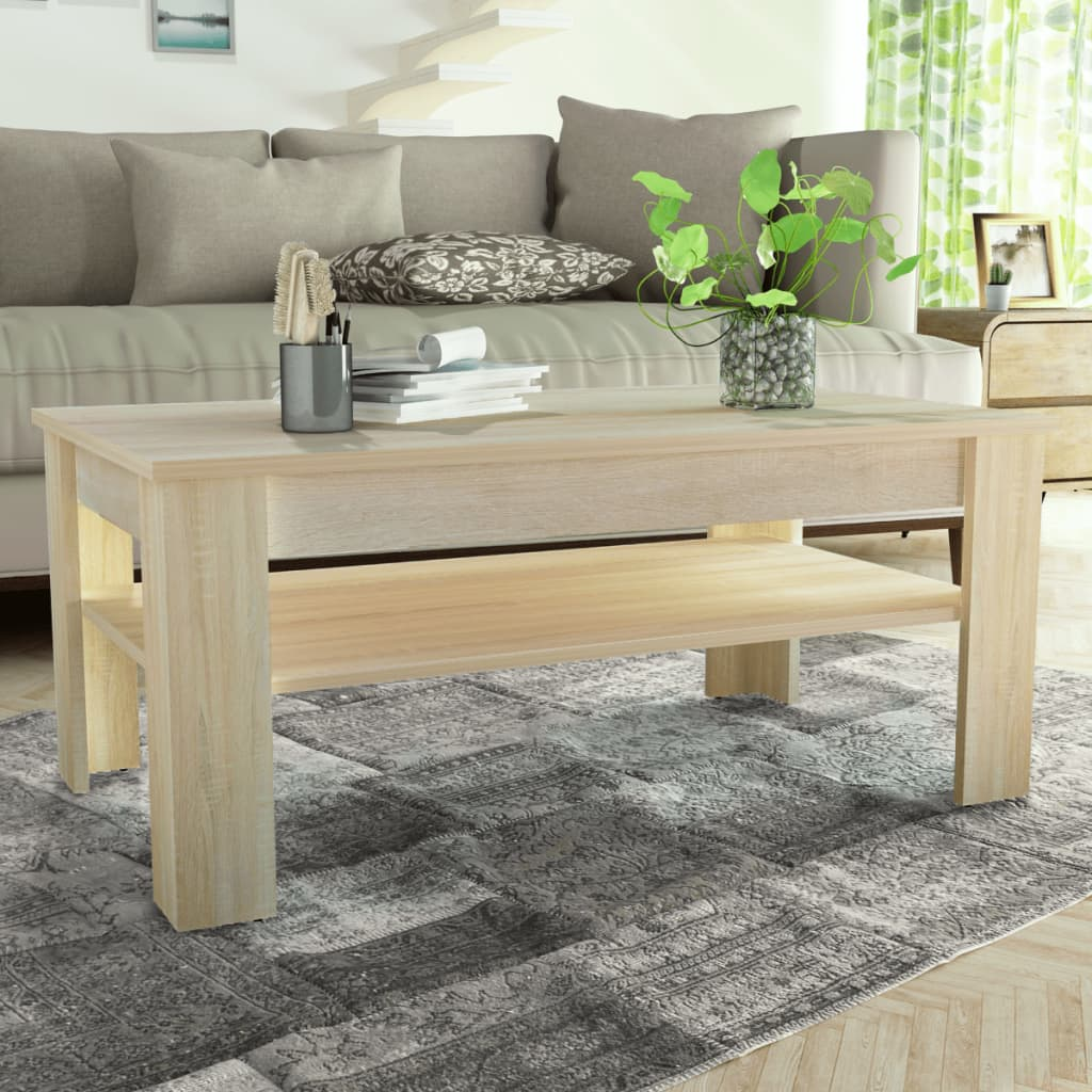 vidaXL tölgyfa színű faforgácslap dohányzóasztal 110 x 65 48 cm