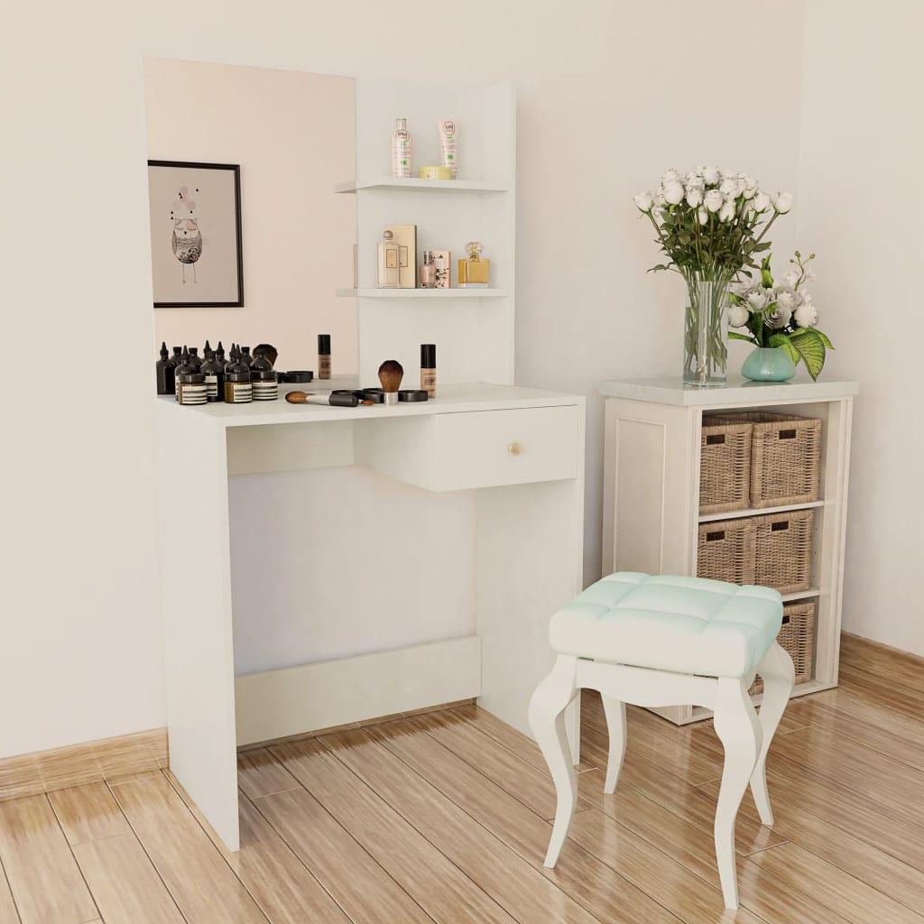vidaxl coiffeuse agglom r meuble maquillage commode de maquillage ch ne blanc ebay. Black Bedroom Furniture Sets. Home Design Ideas