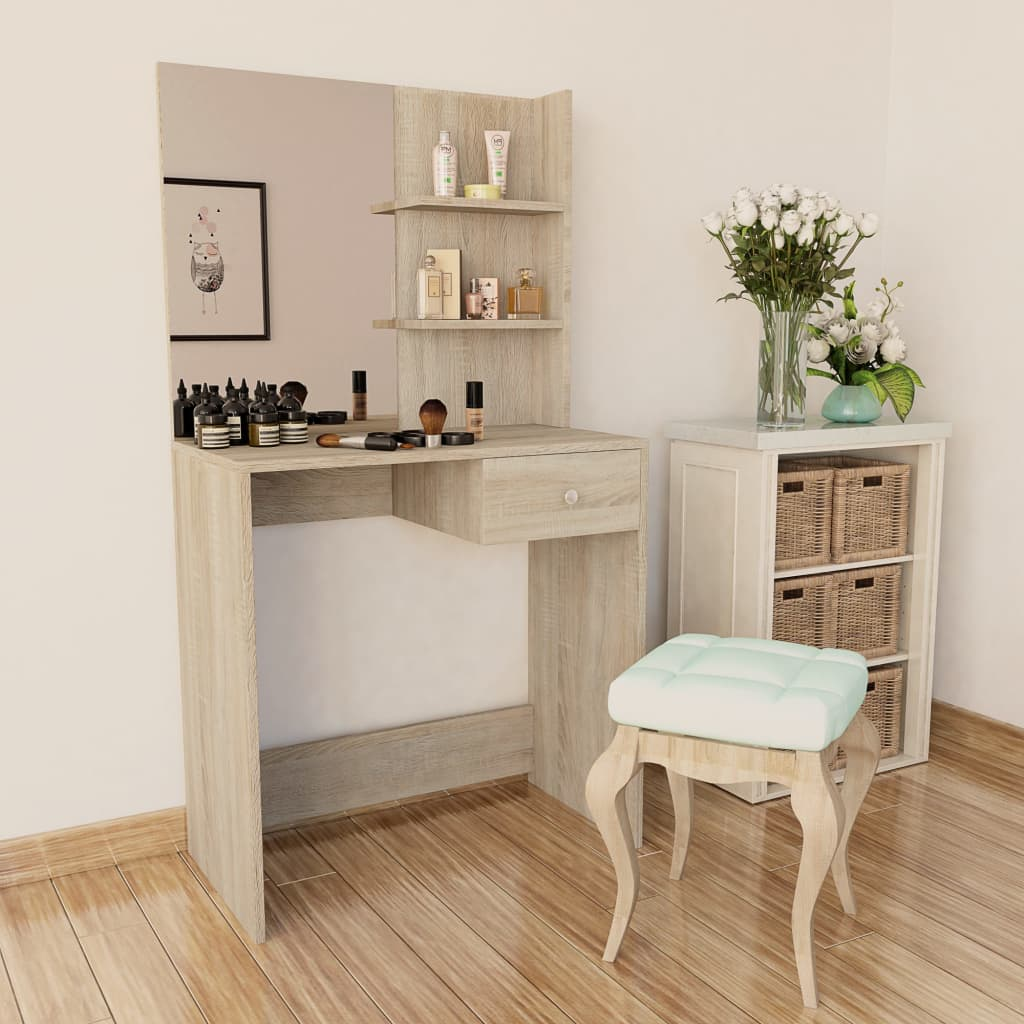 vidaXL tölgyfa színű faforgácslap öltözőasztal 75 x 40 141 cm
