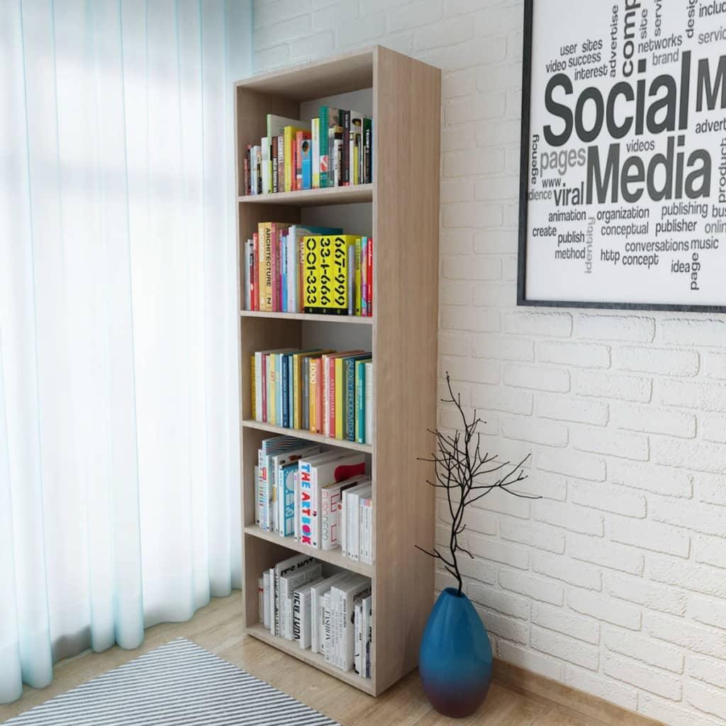 vidaXL tölgyfa hatású forgácslap könyvespolc 60 x 31 190 cm